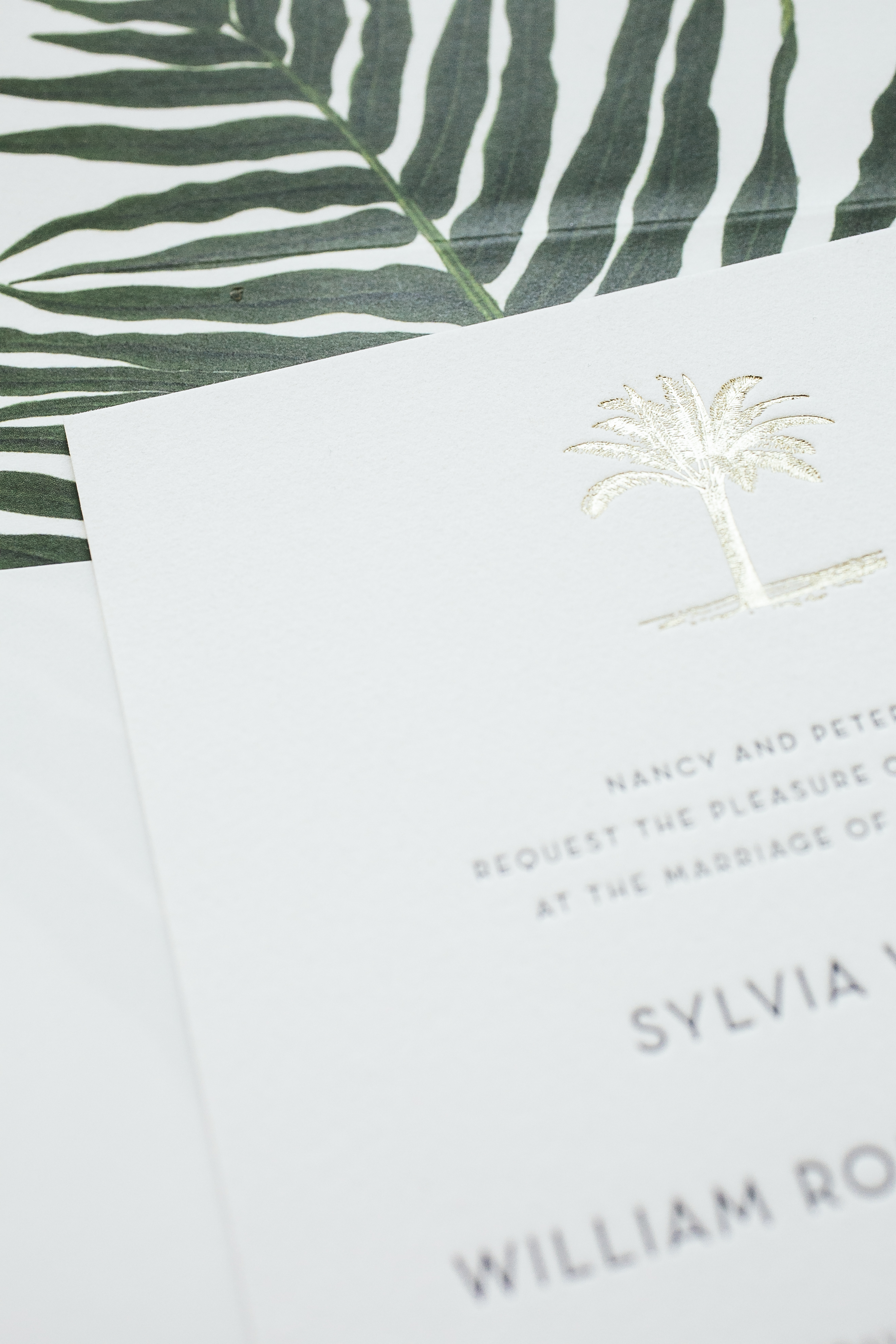 prussian blue letterpress wedding invitations