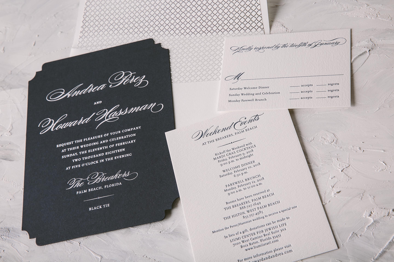 Classic silver foil wedding invitations