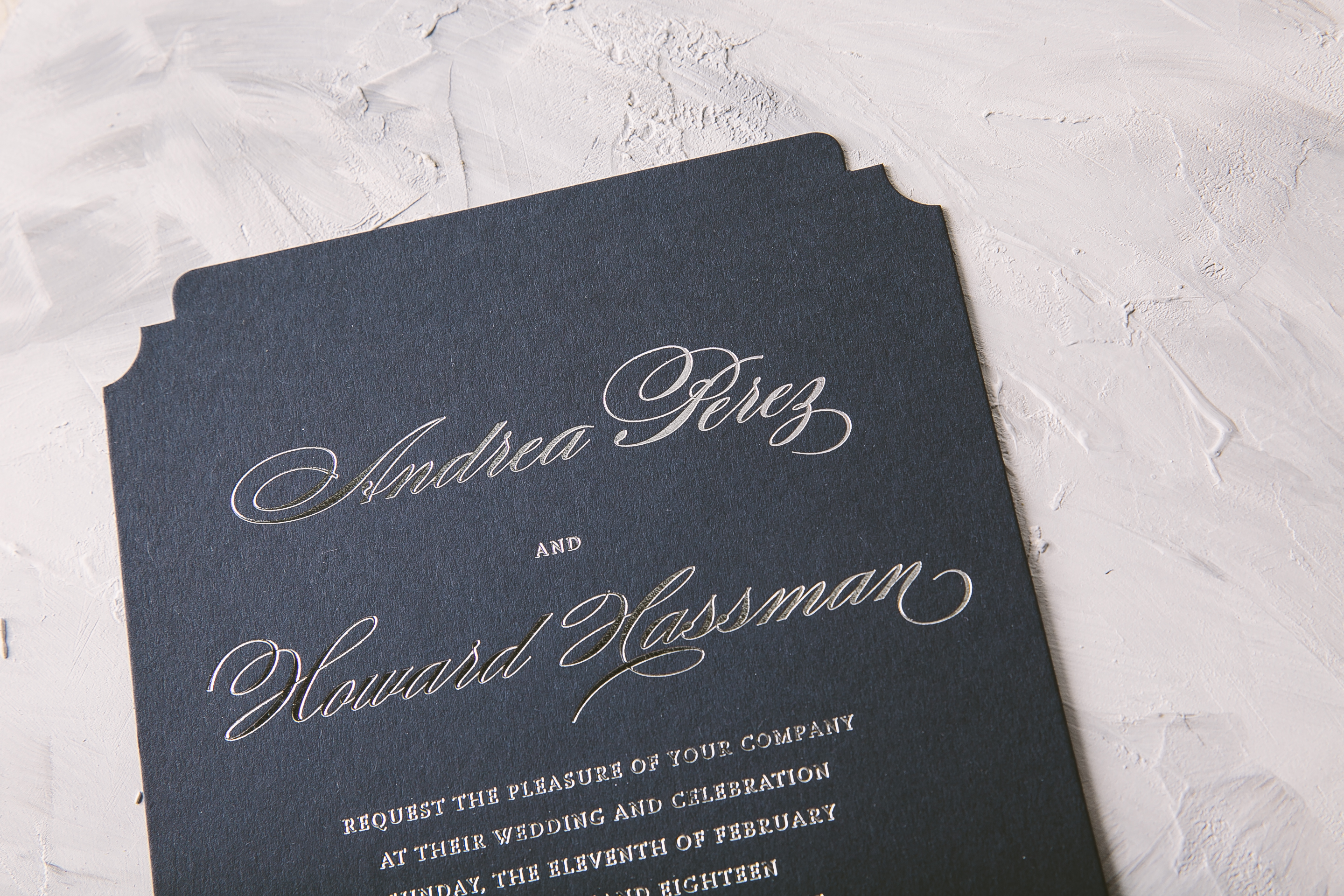 Classic silver foil wedding invitations