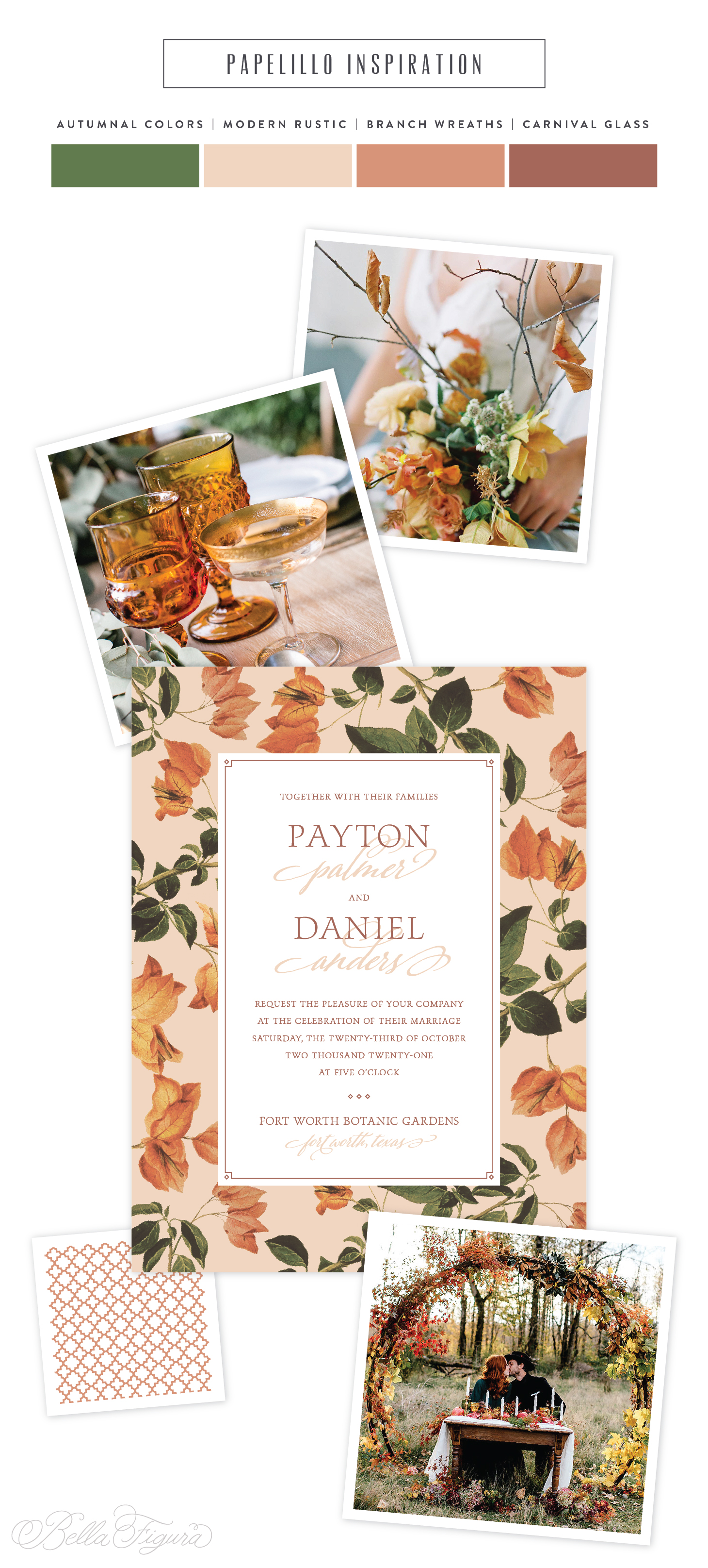 Earth-tone vintage inspired wedding invitation
