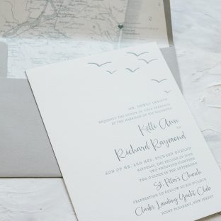 coastal letterpress wedding invitations