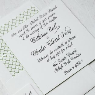 timeless black letterpress wedding invitations