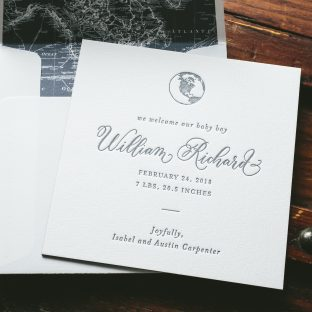 deep blue letterpress baby announcements