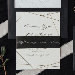 wedding invitation with geometric flair