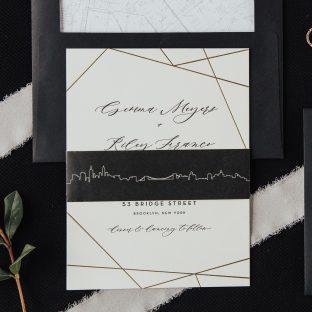 wedding invitation with geometric flair