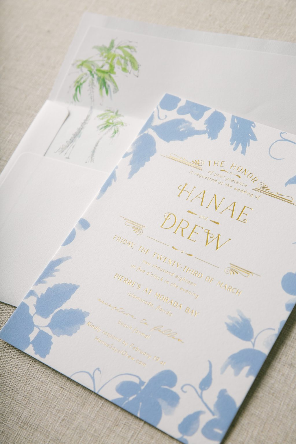 floridian inspired wedding invitations