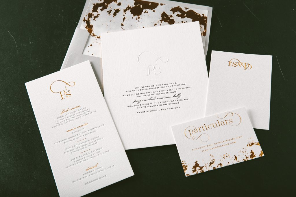 crisp black letterpress wedding invitations