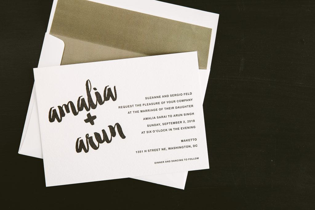 modern black letterpress wedding invitations