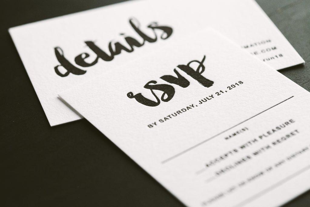 modern black letterpress wedding invitations