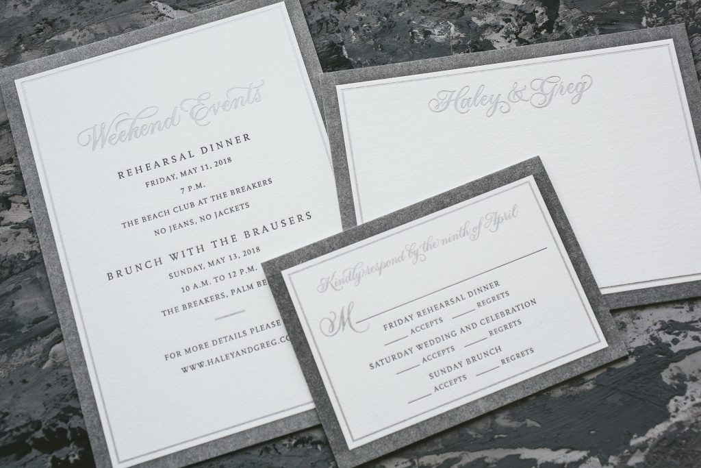 silver foil wedding invitations with calligraphy accents
