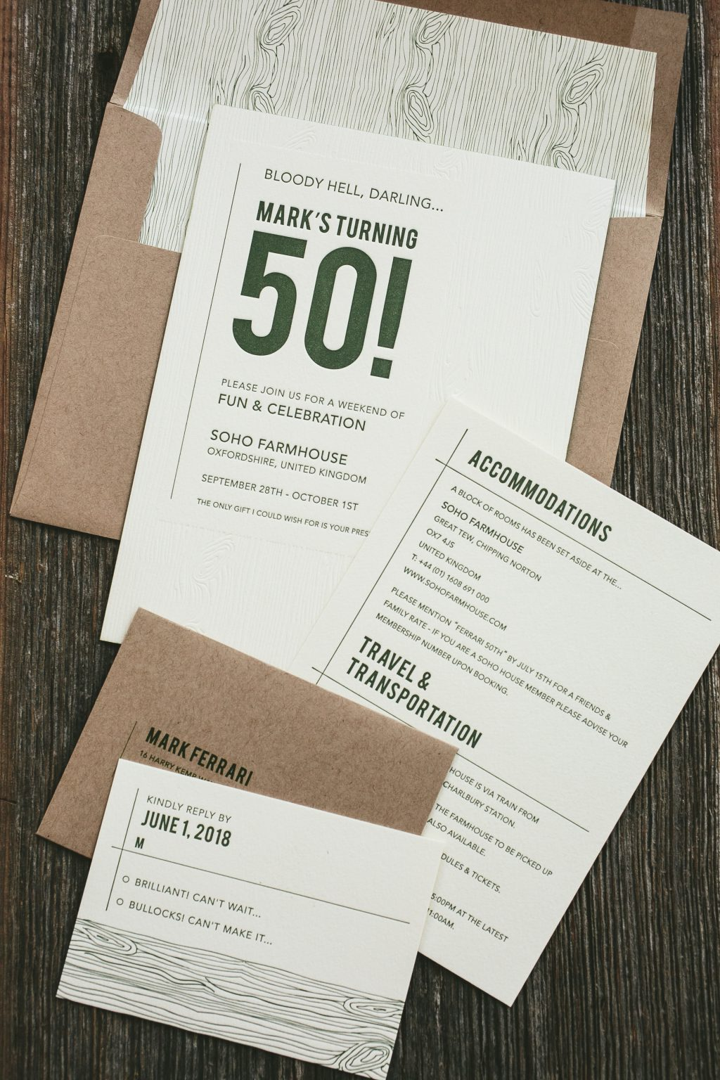 50th birthday invitations in vine letterpress
