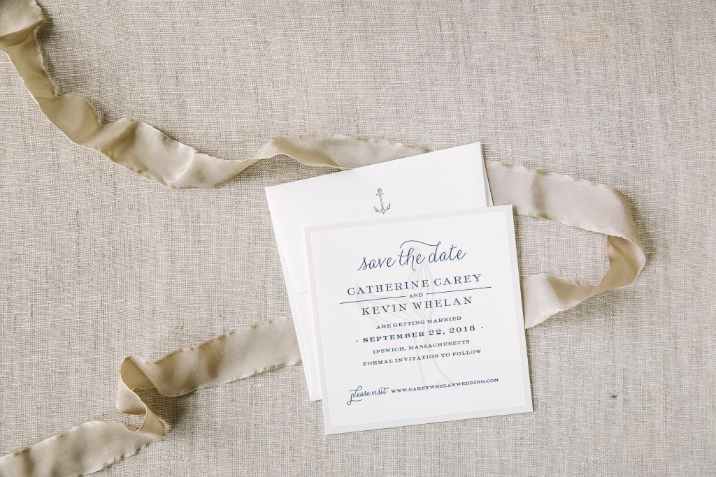nautical inspired letterpress save the dates