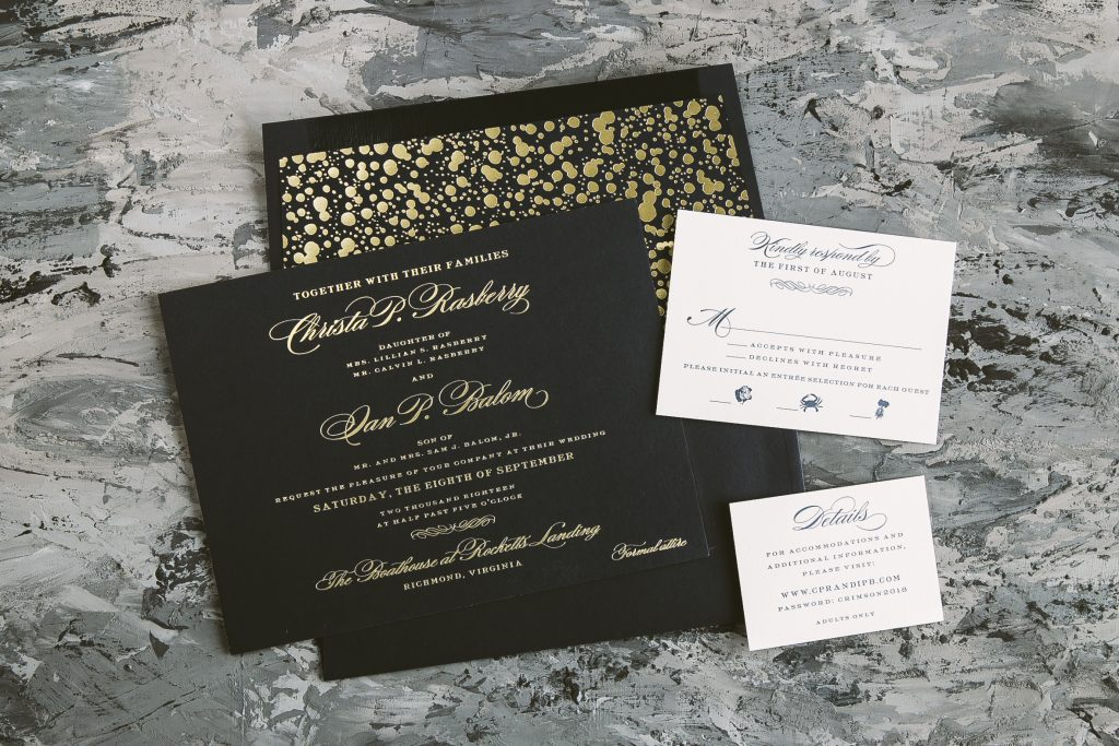gold matte foil wedding invitations