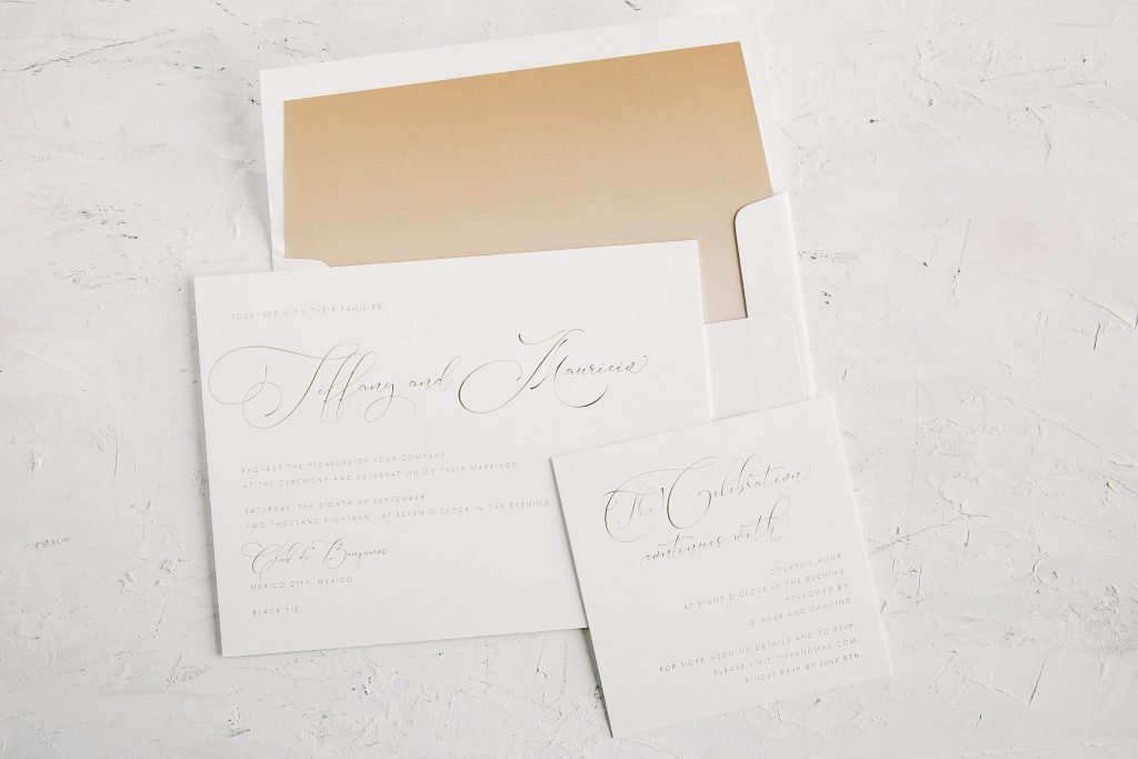 Tawny Matte foil wedding invitations