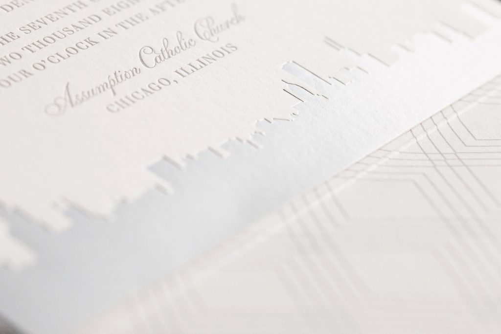chicago skyline wedding invitations