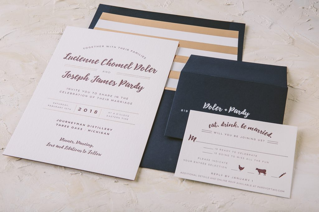 Marsala letterpress invitations