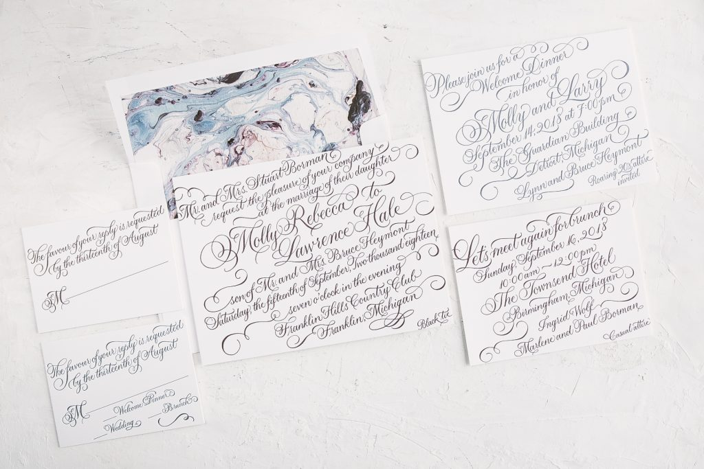 calligraphy letterpress wedding invitations