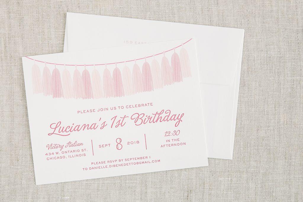 Pink letterpress birthday invitations