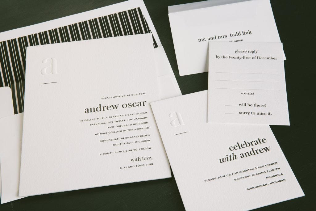 Contemporary letterpress Bar Mitzvah Invitations