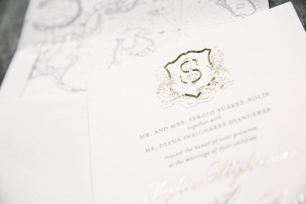 Tawny foil wedding invitations
