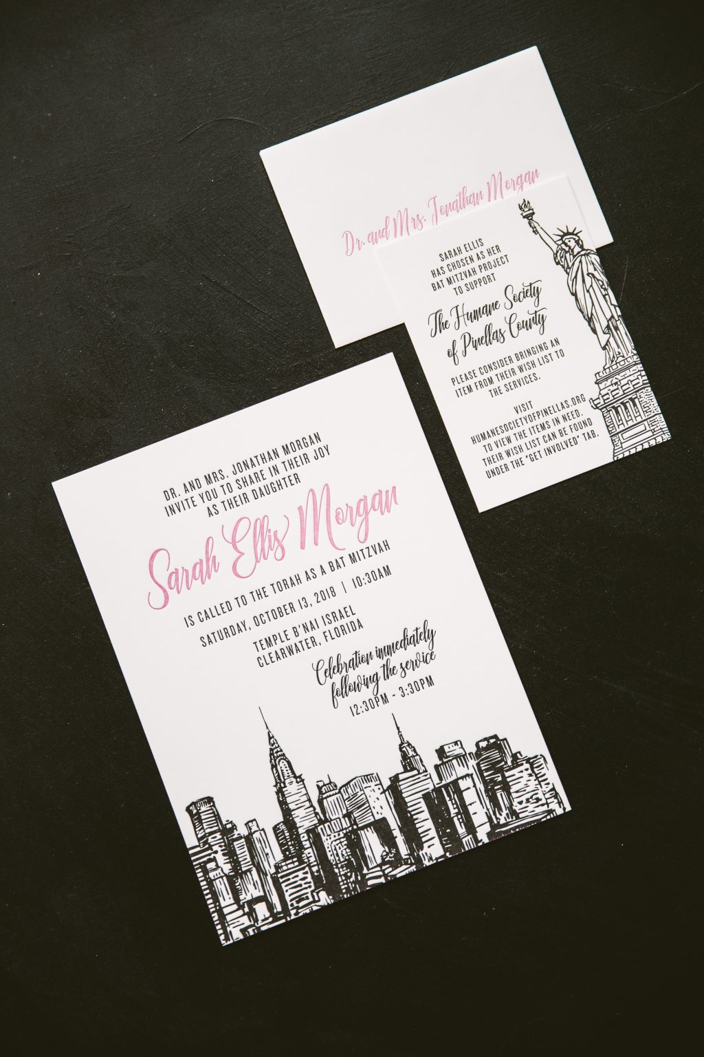Fuchsia and black letterpress Bat Mitzvah invitations
