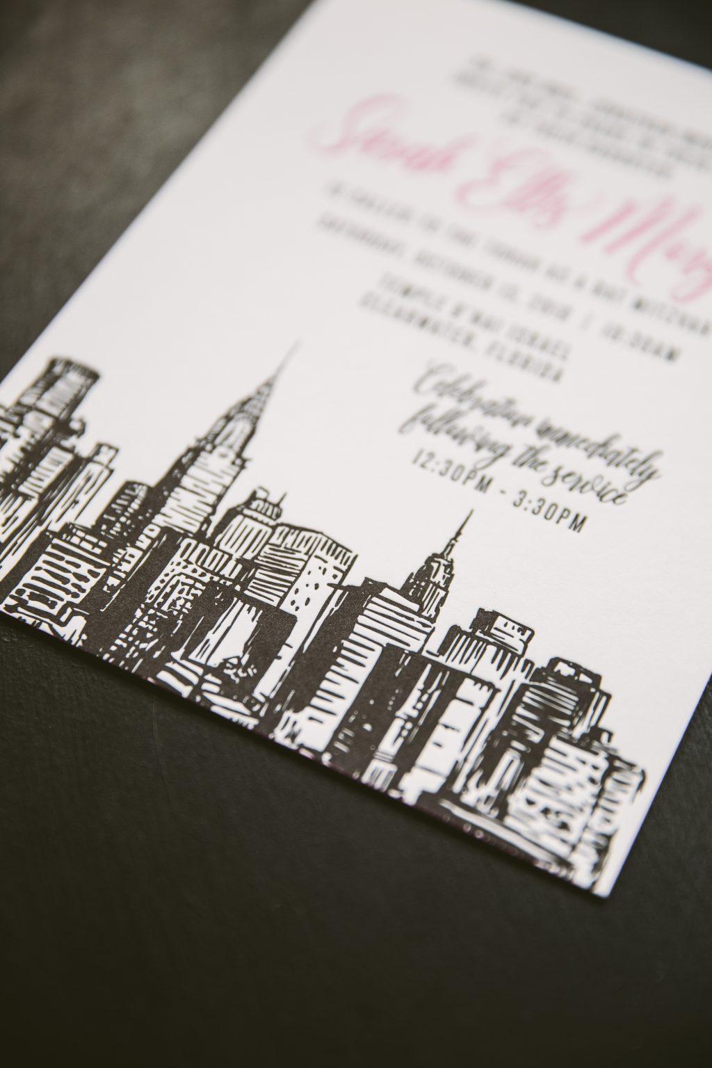 Fuchsia and black letterpress Bat Mitzvah invitations