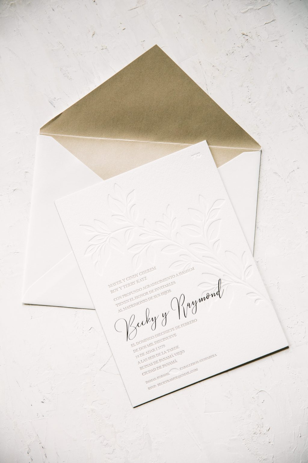 Botanical blind deboss wedding invitations