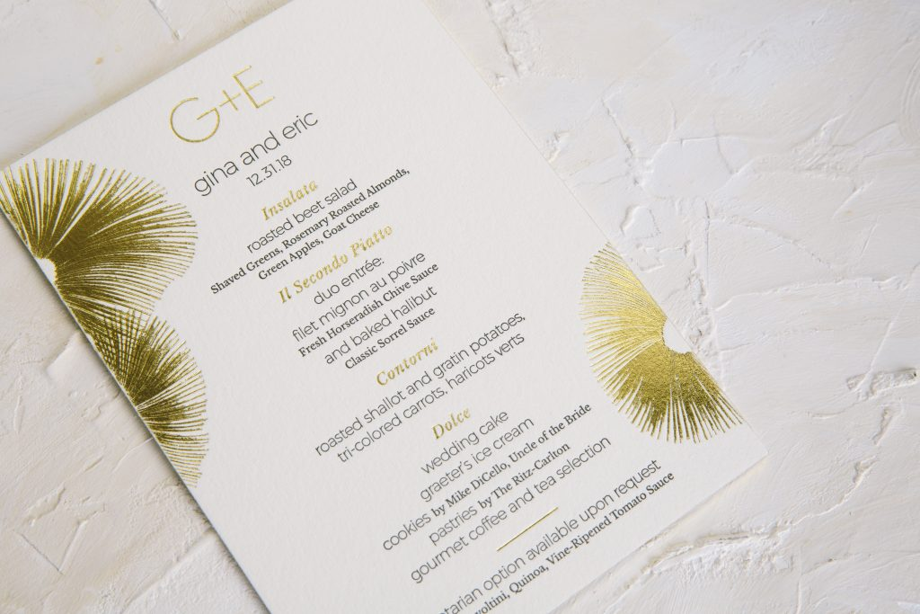 gold foil programs and menus