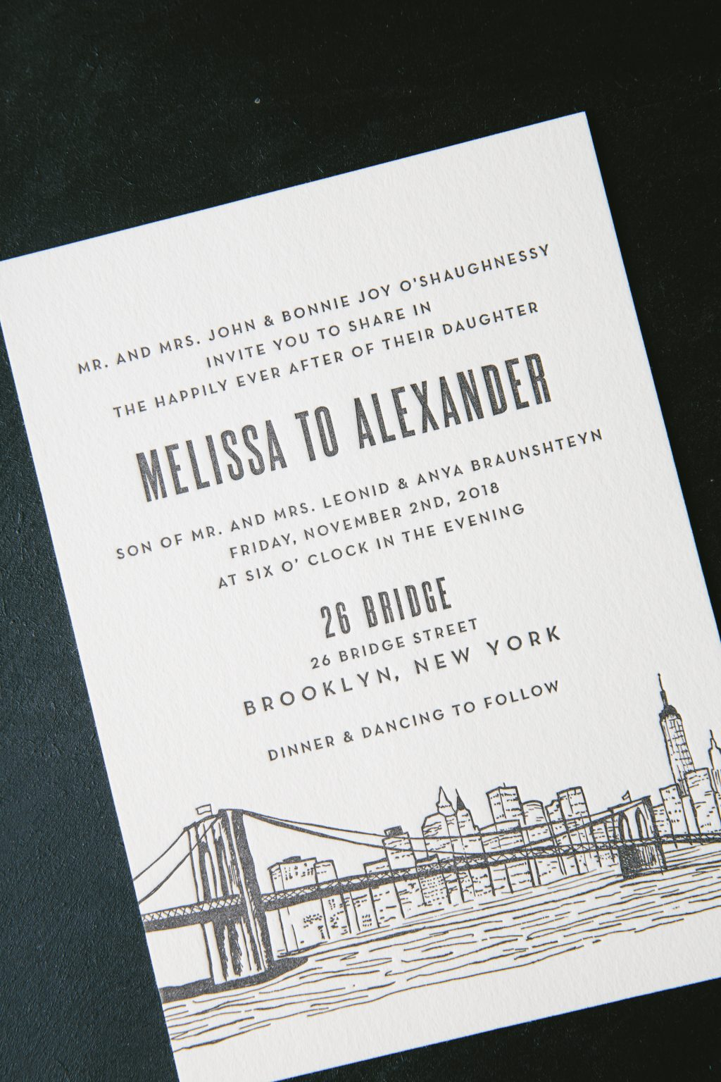New York inspired letterpress wedding invitations