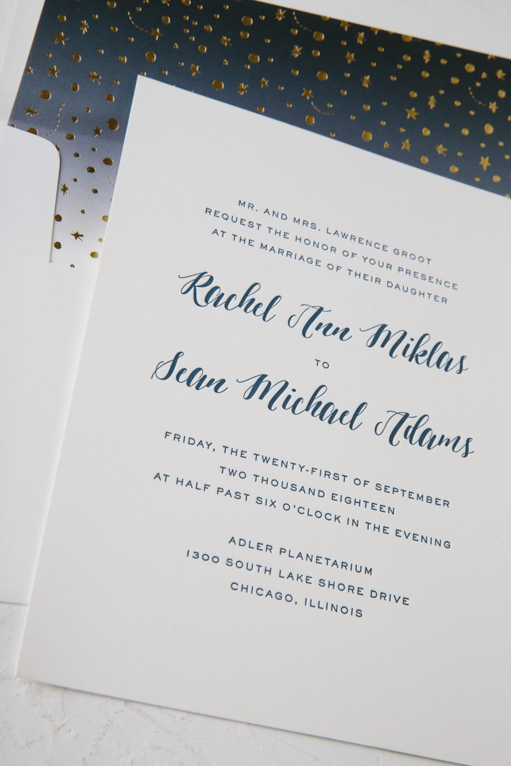 Navy letterpress wedding invitations