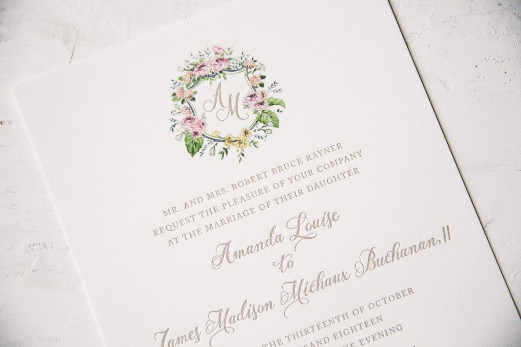 Neutral letterpress wedding invitations