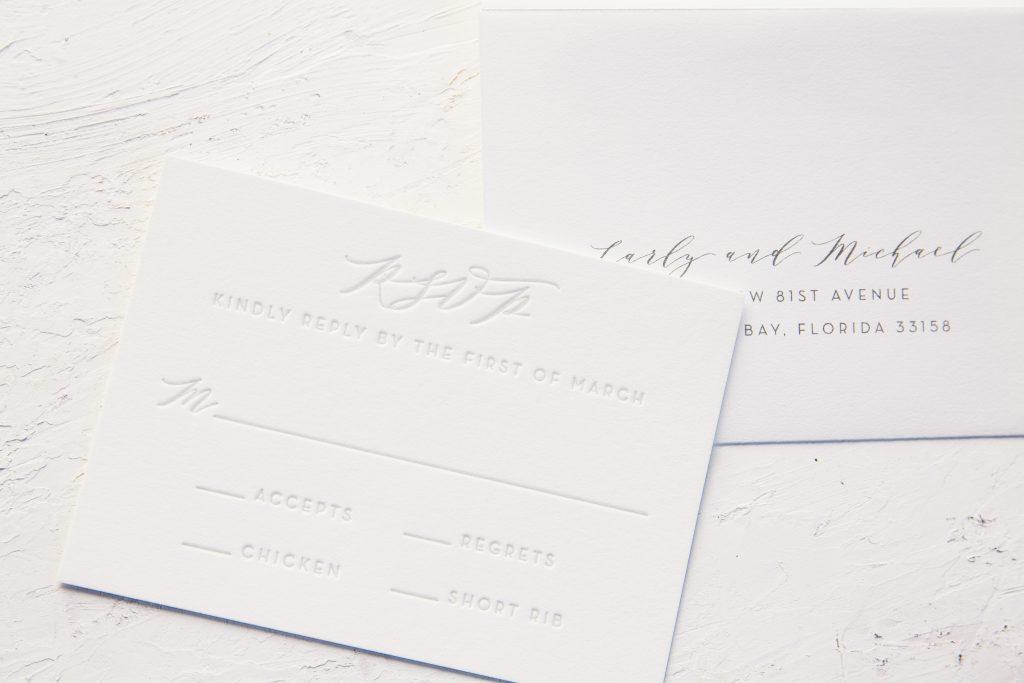 subtle floral letterpress wedding invitations
