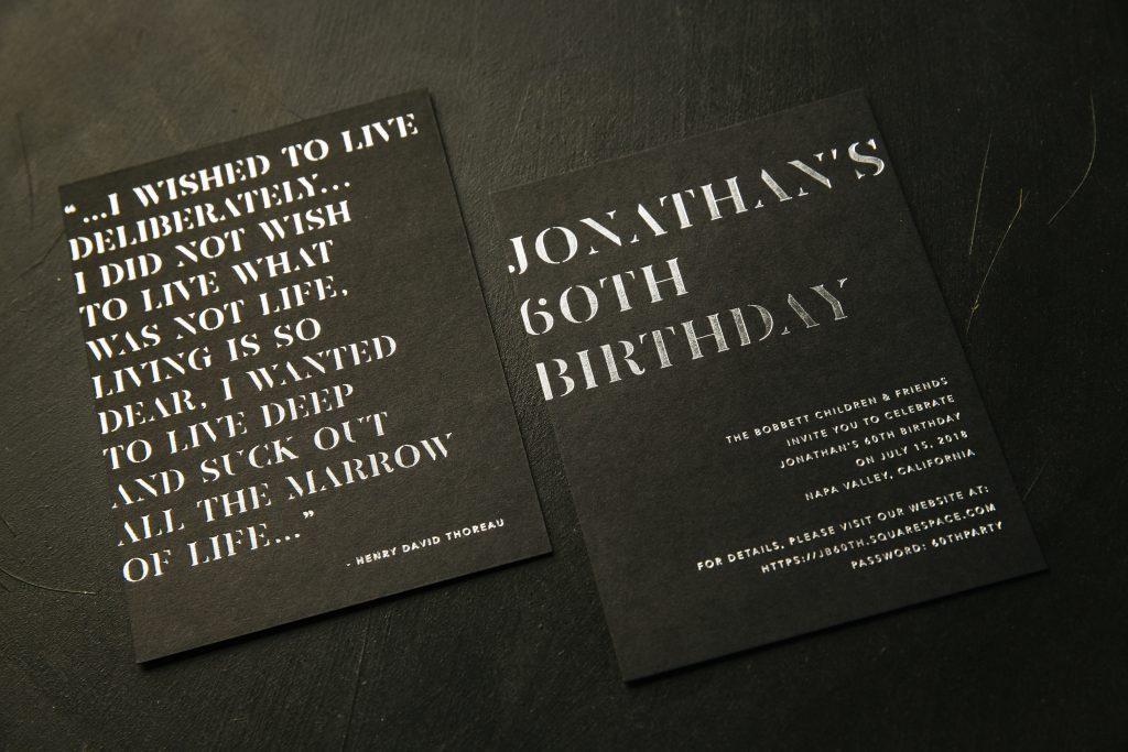 Silver foil 60th birthday invitations