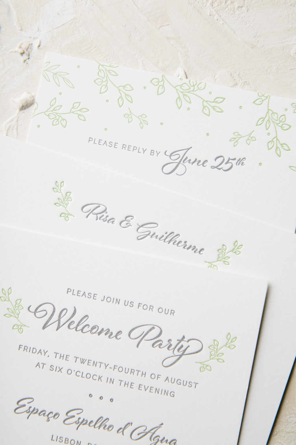 Botanical letterpress wedding invitations in Pewter