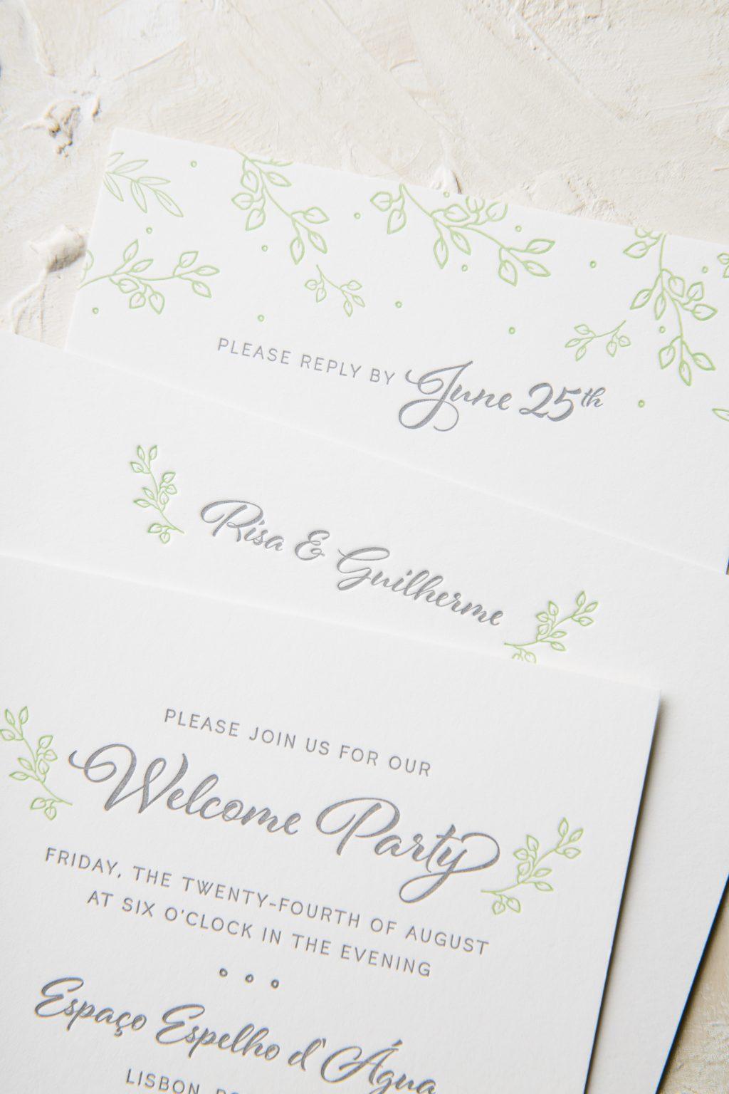 Botanical letterpress wedding invitations in Pewter