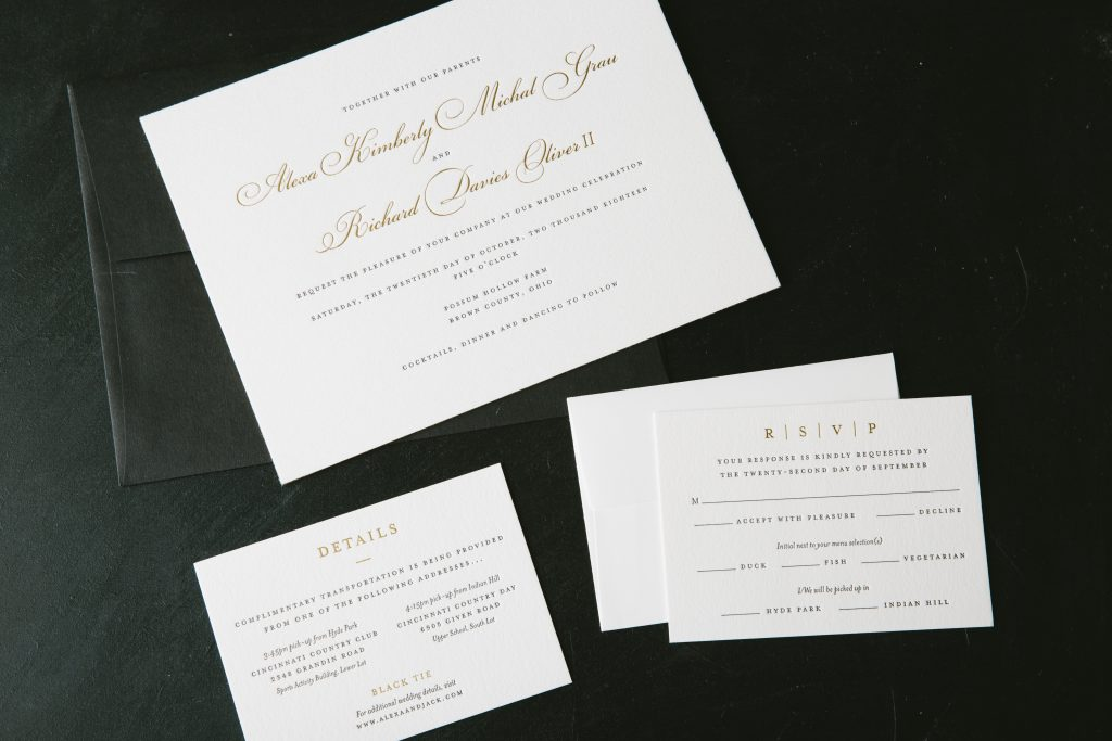 Traditional black letterpress invitations with foil accents