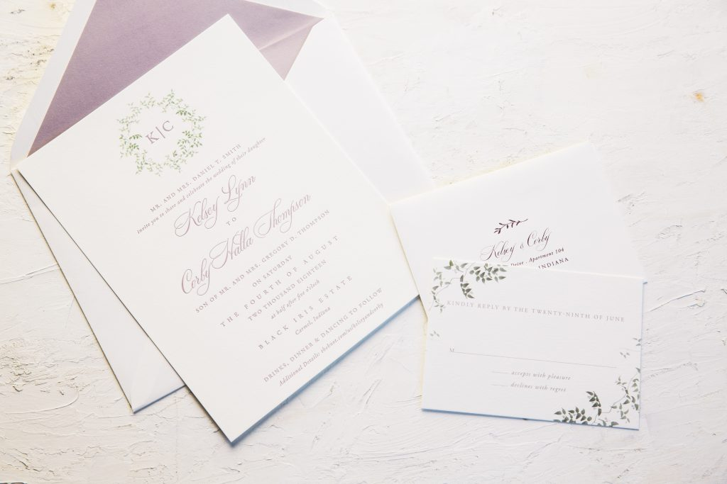Wisteria letterpress wedding invitations