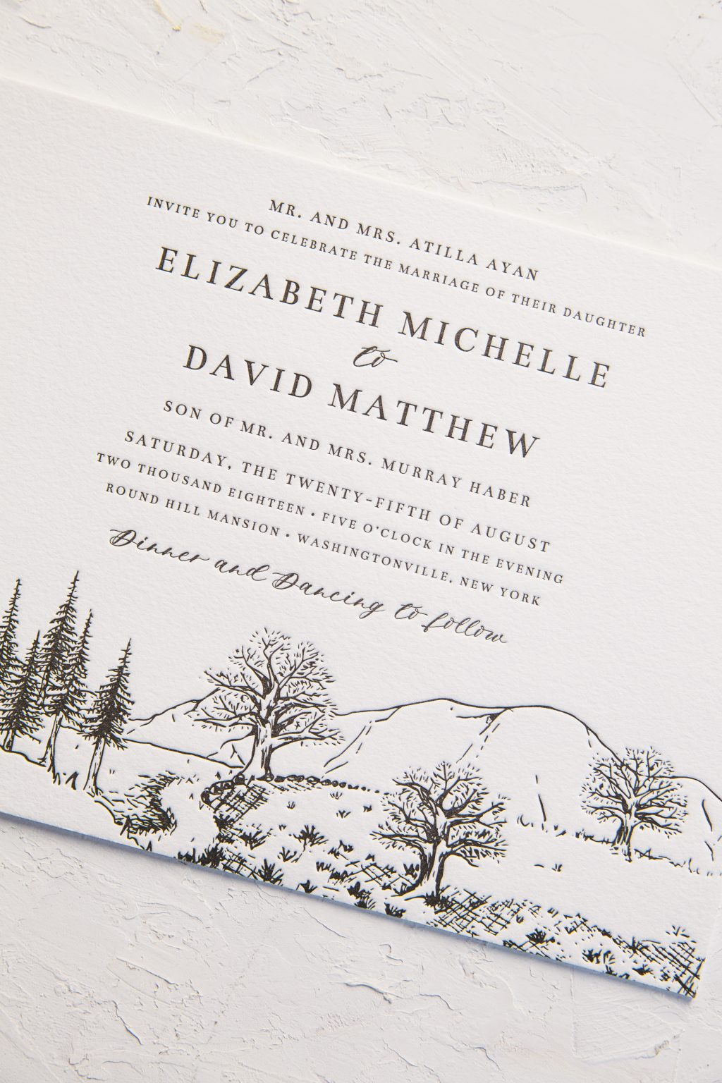 classic black wedding invitations