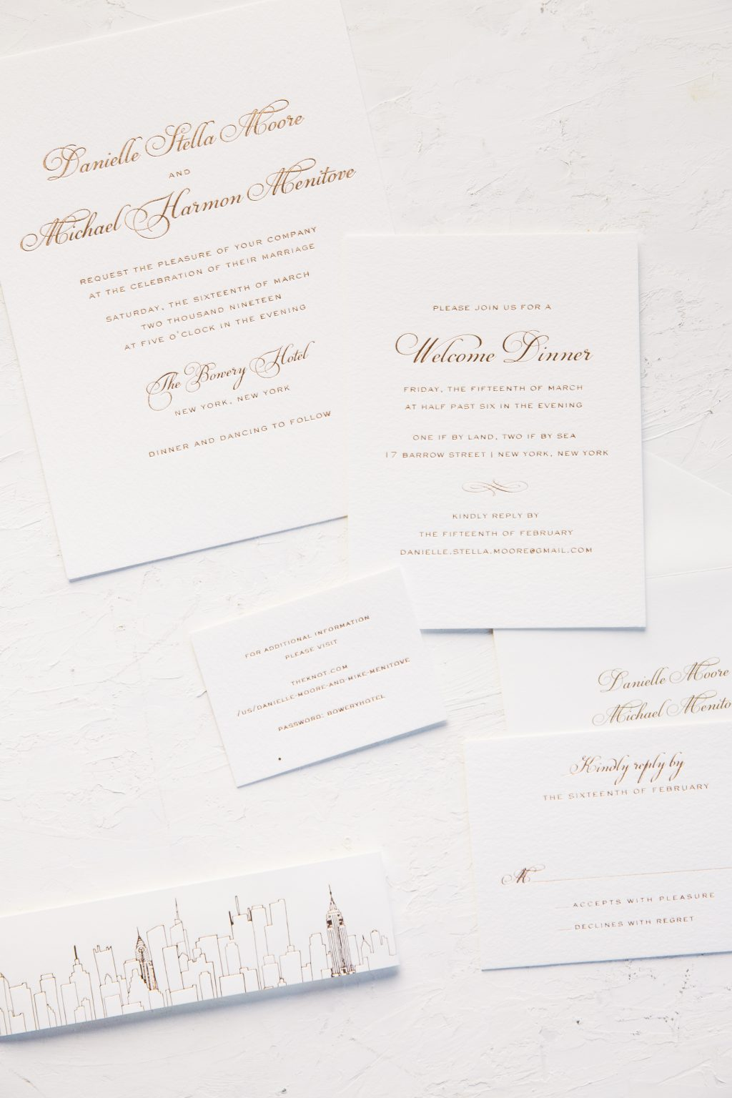 New York inspired rose gold wedding invitations