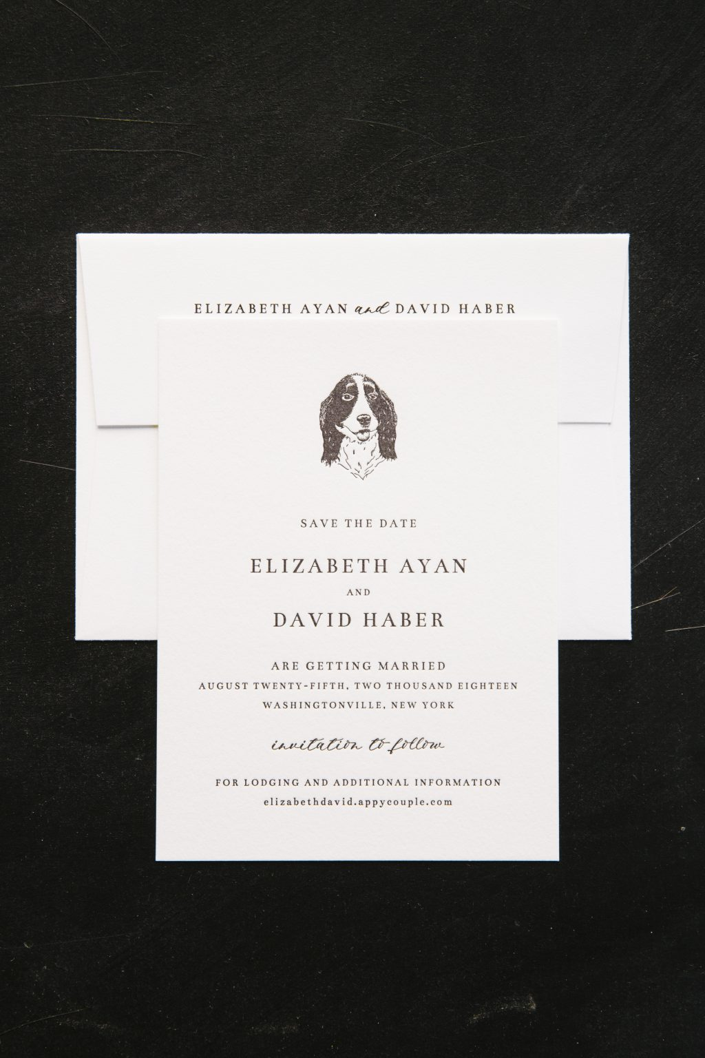 Black letterpress save the dates with a personal pet touch