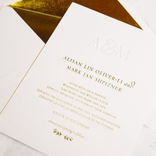 Gold foil and pale gray letterpress invitations