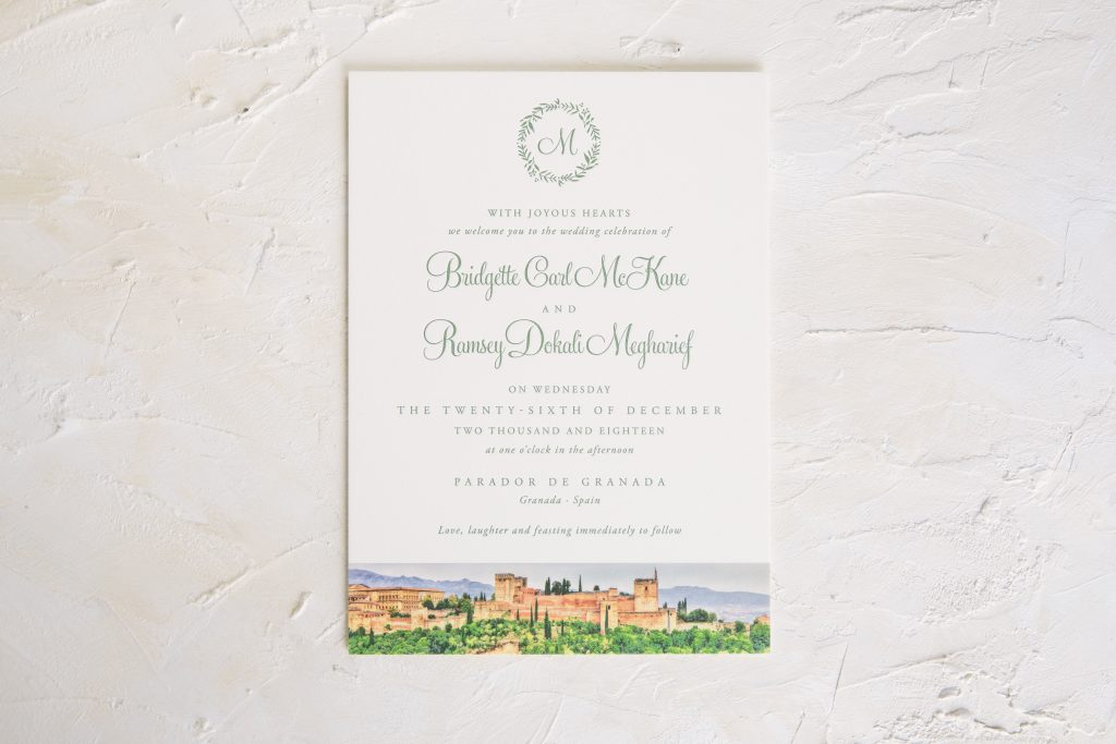 vine letterpress wedding invitations