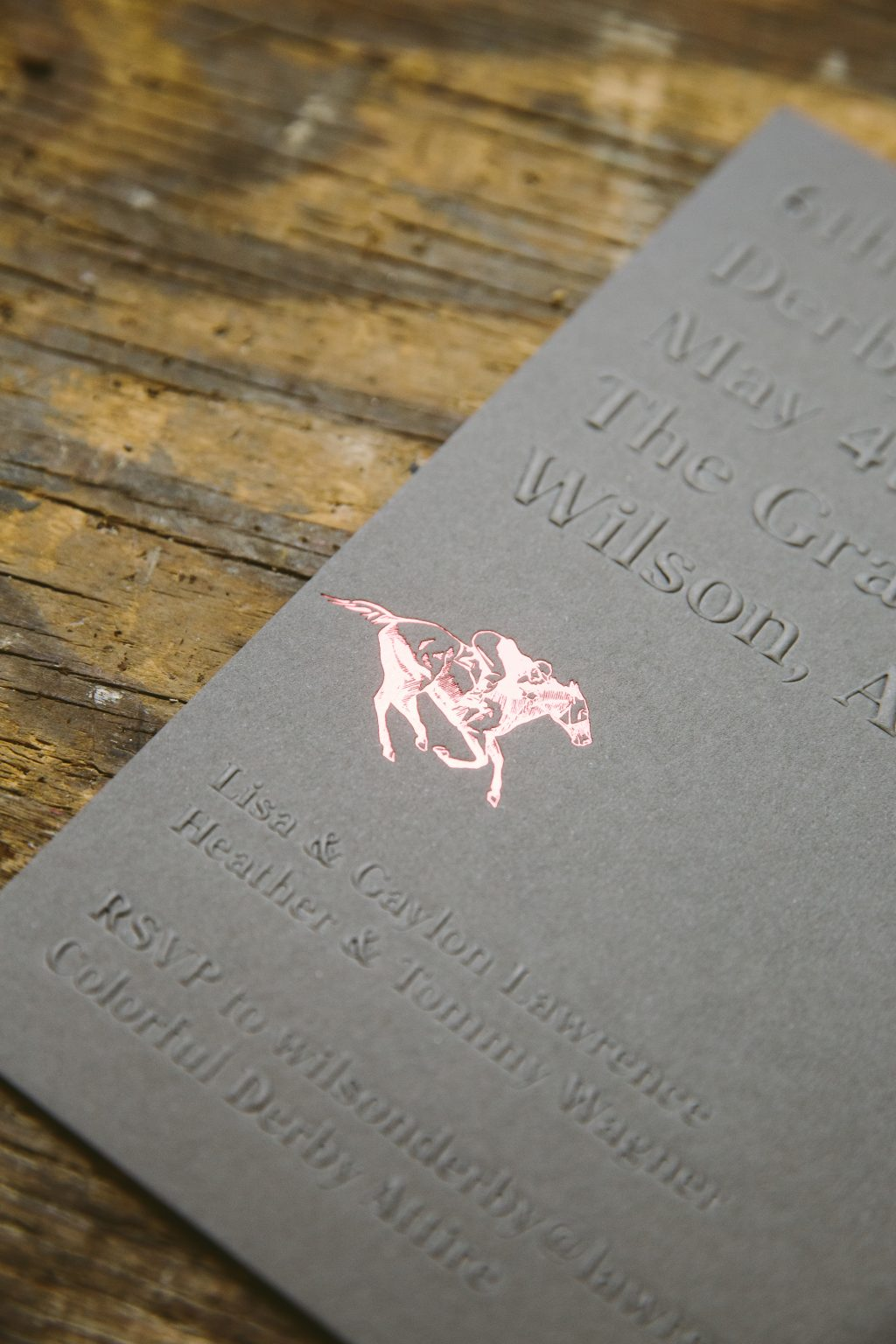 blind embossed derby party invitations