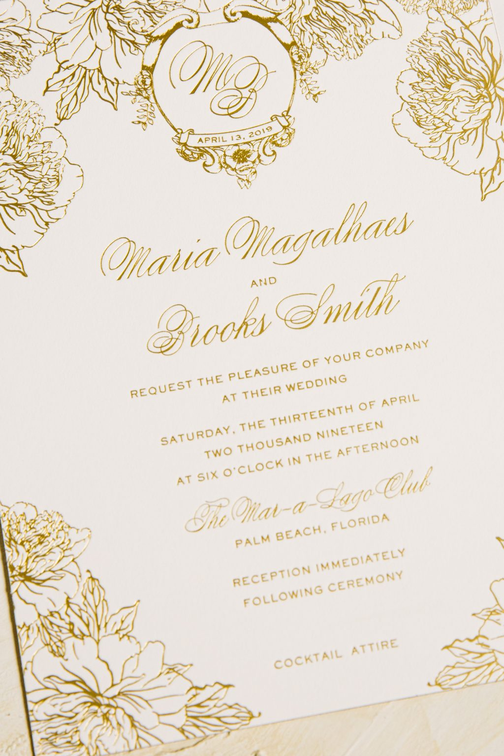 Floral gold foil wedding invitations