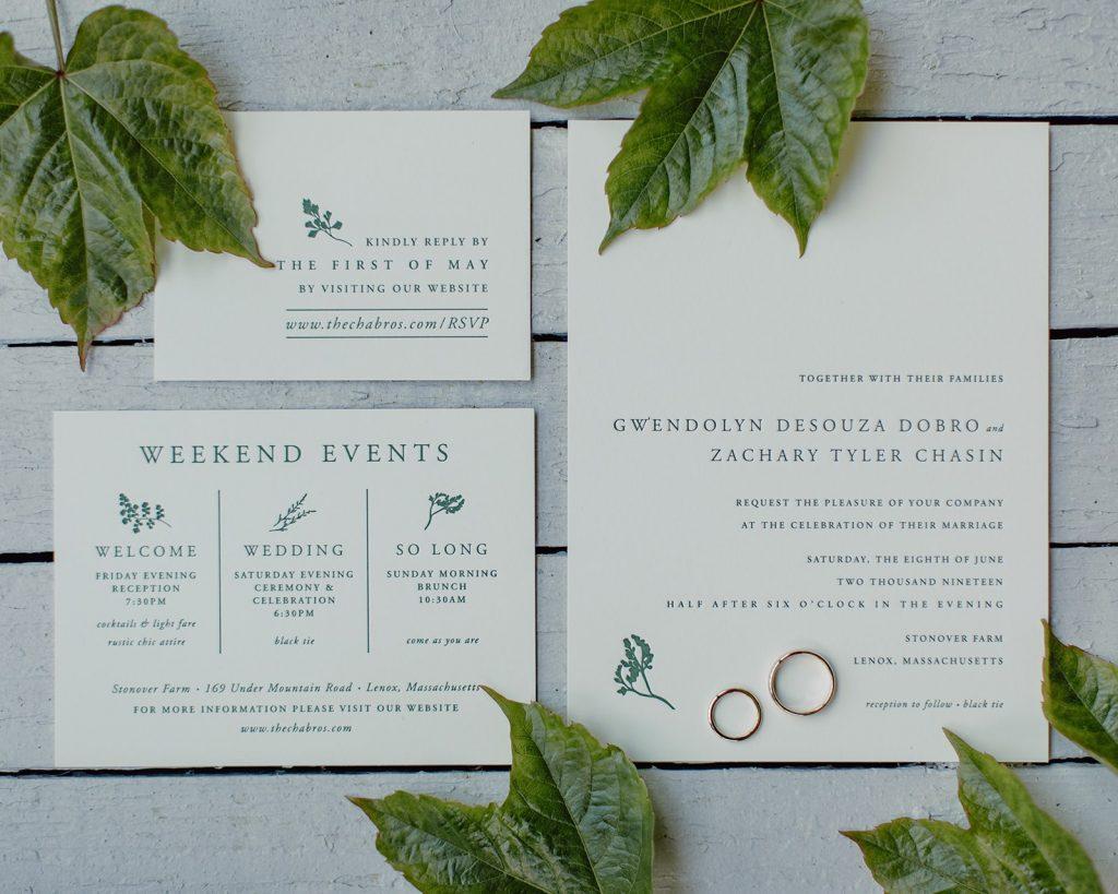Alder inspired wedding invitations