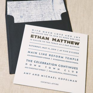 Navy letterpress Bar Mitzvah invitations