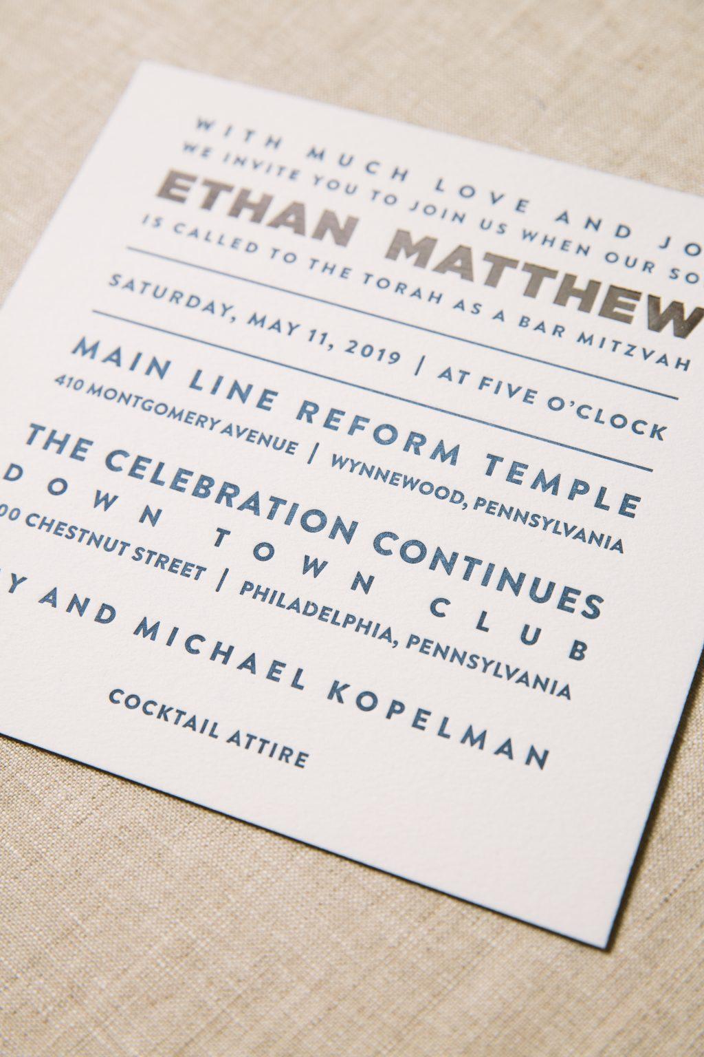 Navy letterpress Bar Mitzvah invitations