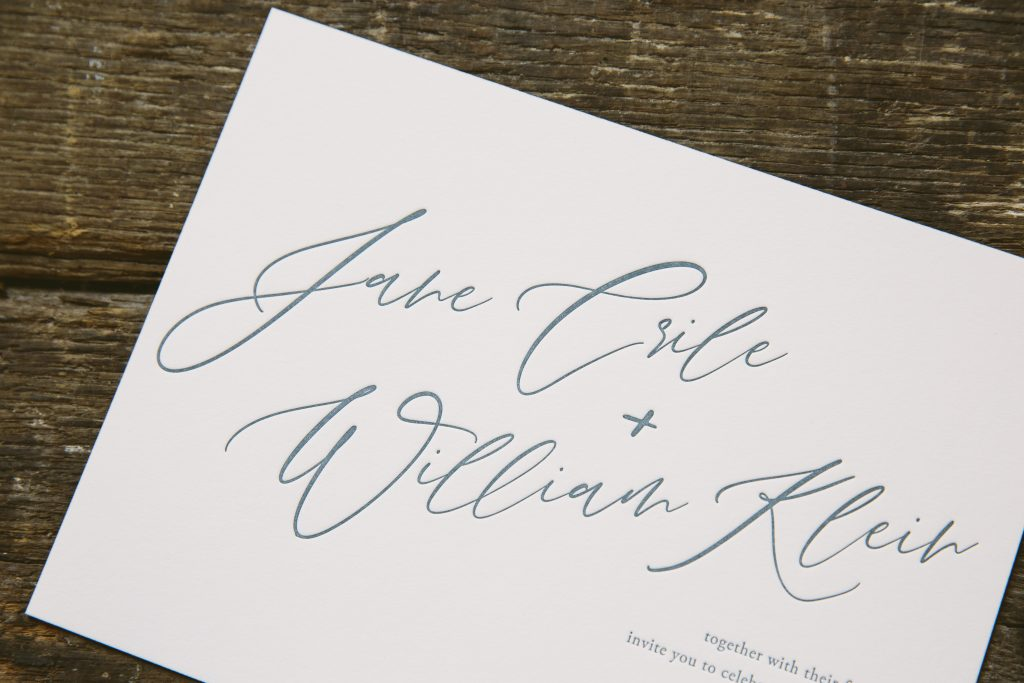 Deep blue letterpress wedding invitations
