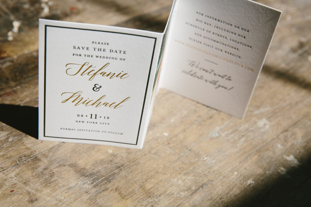 Gold save the date tri-folds