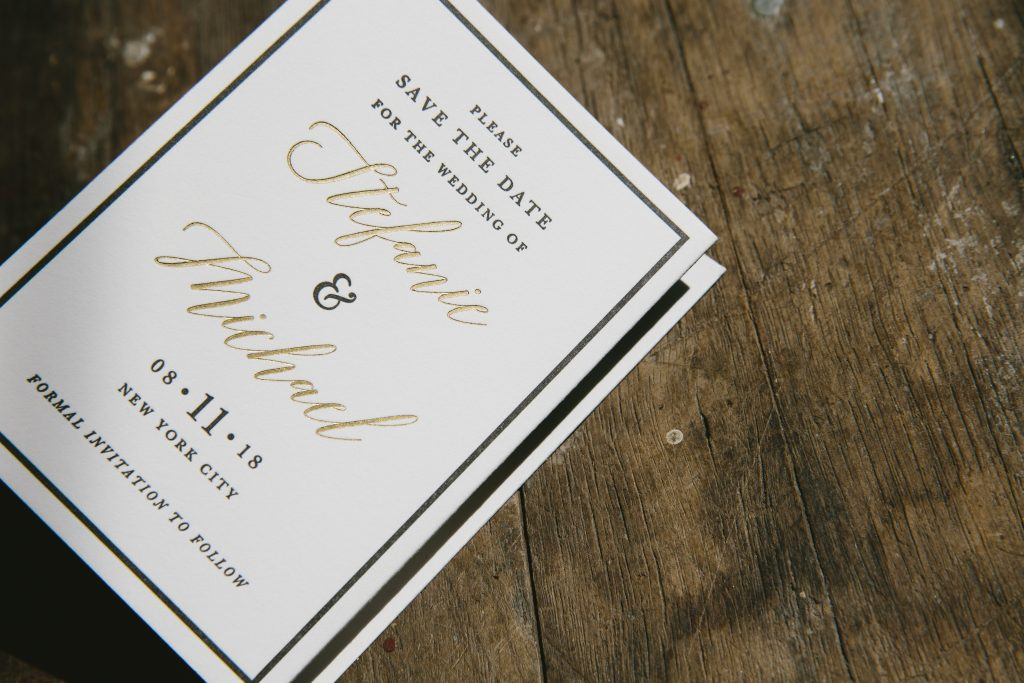 Gold save the date tri-foldsi-folds